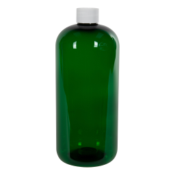 32 oz. Dark Green PET Traditional Boston Round Bottle with 28/410 Plain Cap with F217 Liner