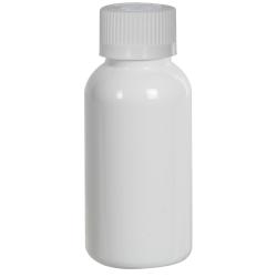 1 oz. White PET Traditional Boston Round Bottle with 20/400 CRC Cap