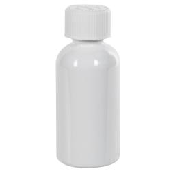 2 oz. White PET Traditional Boston Round Bottle with 20/400 CRC Cap
