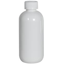 8 oz. White PET Traditional Boston Round Bottle with 24/410 CRC Cap