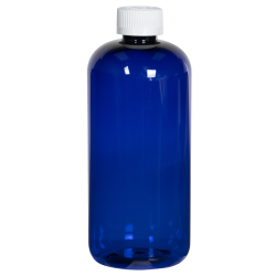 16 oz. Cobalt Blue PET Traditional Boston Round Bottle with 28/410 CRC Cap