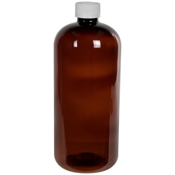 32 oz. Light Amber PET Traditional Boston Round Bottle with 28/410 CRC Cap