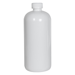 32 oz. White PET Traditional Boston Round Bottle with 28/410 CRC Cap