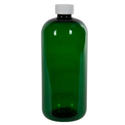 32 oz. Dark Green PET Traditional Boston Round Bottle with 28/410 CRC Cap
