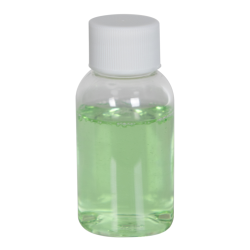 1 oz. Clear PET Squat Boston Round Bottle with 20/410 Plain Cap