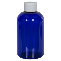 4 oz. Cobalt Blue PET Squat Boston Round Bottle with 20/410 Plain Cap