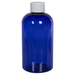 8 oz. Cobalt Blue PET Squat Boston Round Bottle with 24/410 Plain Cap