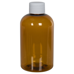 4 oz. Clarified Amber PET Squat Boston Round Bottle with 20/410 Plain Cap