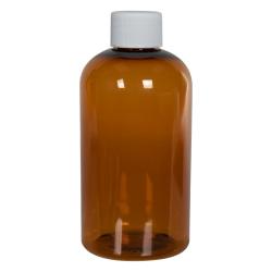 8 oz. Clarified Amber PET Squat Boston Round Bottle with 24/410 Plain Cap