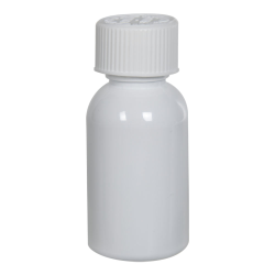 1 oz. White PET Squat Boston Round Bottle with 20/410 CRC Cap