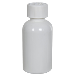 2 oz. White PET Squat Boston Round Bottle with 20/410 CRC Cap