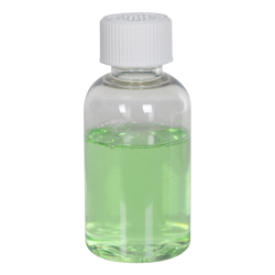 2 oz. Clear PET Squat Boston Round Bottle with 20/410 CRC Cap