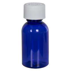 1 oz. Cobalt Blue PET Squat Boston Round Bottle with 20/410 CRC Cap