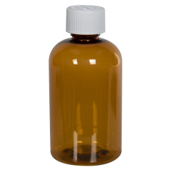 4 oz. Clarified Amber PET Squat Boston Round Bottle with 20/410 CRC Cap