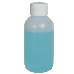 2 oz. HDPE Natural Boston Round Bottle with 20/410 Plain Cap