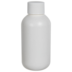 2 oz. HDPE White Boston Round Bottle with 20/410 Plain Cap