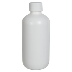 8 oz. HDPE White Boston Round Bottle with 24/410 Plain Cap