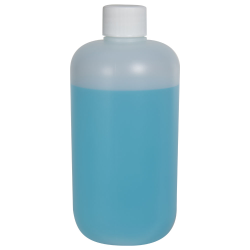 12 oz. HDPE Natural Boston Round Bottle with 24/410 Plain Cap