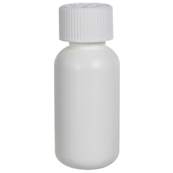 1 oz. HDPE White Boston Round Bottle with 20/410 CRC Cap