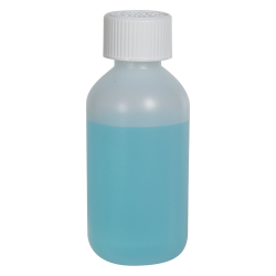 2 oz. HDPE Natural Boston Round Bottle with 20/410 CRC Cap