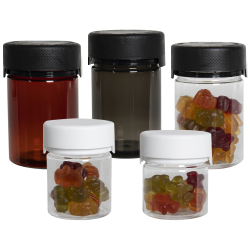 7.5 oz./225cc Translucent Amber PET Aviator Container with Black CR Cap & Seal