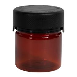2 oz./60cc Amber PET Aviator Container with Black CR Cap & Seal