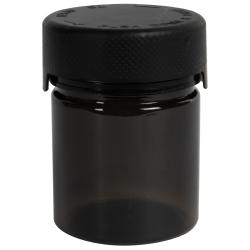 3 oz./90cc Translucent Black PET Aviator Container with Black CR Cap & Seal