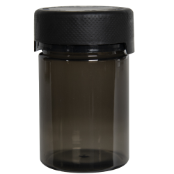 4 oz./120cc Translucent Black PET Aviator Container with Black CR Cap & Seal