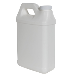 64 oz. White Fluorinated F-Style Jug with 38/400 Plain Cap