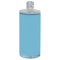 4 oz. Clear Stubby Cylinder Glass Bottle with  18/415 Neck (Cap Sold Separately)