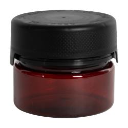 7.5 oz./225cc Translucent Amber PET Aviator Container with Black CR Cap & Seal
