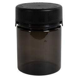 18.5 oz./550cc Translucent Black PET Aviator Container with Black CR Cap & Seal