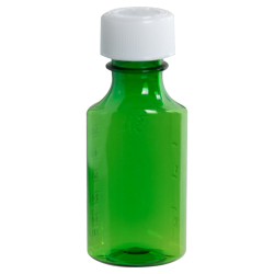 2 oz. Green PET Oval Liquid Bottle with 24mm CR Cap