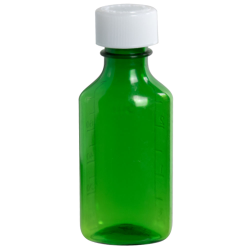 3 oz. Green PET Oval Liquid Bottle with 24mm CR Cap