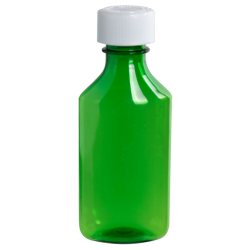 4 oz. Green PET Oval Liquid Bottle with 24mm CR Cap