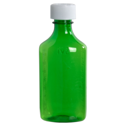6 oz. Green PET Oval Liquid Bottle with 24mm CR Cap