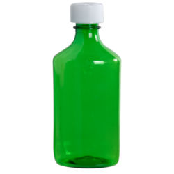 8 oz. Green PET Oval Liquid Bottle with 24mm CR Cap