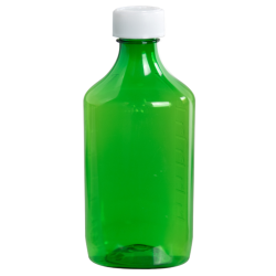 12 oz. Green PET Oval Liquid Bottle with 28mm CR Cap