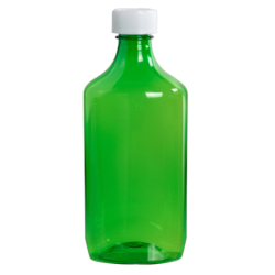 16 oz. Green PET Oval Liquid Bottle with 28mm CR Cap