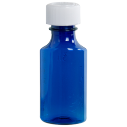 2 oz. Blue PET Oval Liquid Bottle with 24mm CR Cap