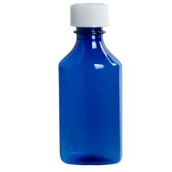 4 oz. Blue PET Oval Liquid Bottle with 24mm CR Cap