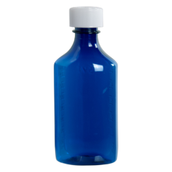 6 oz. Blue PET Oval Liquid Bottle with 24mm CR Cap