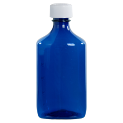 8 oz. Blue PET Oval Liquid Bottle with 24mm CR Cap