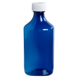 12 oz. Blue PET Oval Liquid Bottle with 28mm CR Cap