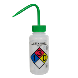 250mL (8 oz.) Scienceware® Methanol Safety-Vented & Labeled Wide Mouth Wash Bottle with Green 53mm Cap