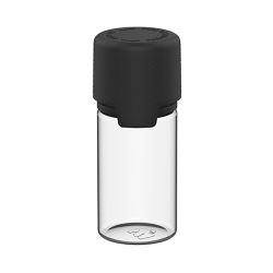 30mL Clear PET Stubby Aviator Bottle with Black CR Cap & Seal
