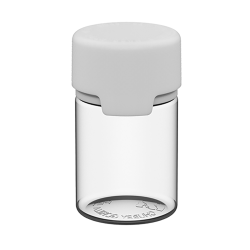 60mL Clear PET Stubby Aviator Bottle with White CR Cap & Seal