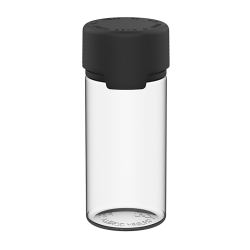 100mL Clear PET Aviator Bottle with Black CR Cap & Seal