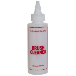 "4 oz. Natural HDPE Cylinder Bottle with 24/410 Twist Open/Close Cap & Red ""Brush Cleaner"" Embossed"