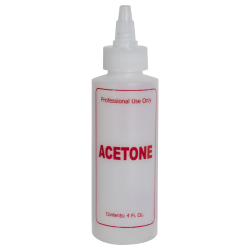 "4 oz. Natural HDPE Cylinder Bottle with 24/410 Twist Open/Close Cap & Red ""Acetone"" Embossed"